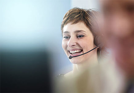 Call centre worker on the phone